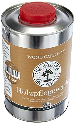 OLI-NATURA Holz-Pflegewachs (Zur Auffrischung und Pflege aller hartwachsöl-behandelten Holzoberflächen), 1 Liter, Farblos/natur