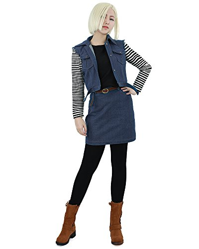 miccostumes Womens Dragon Ball Android 18 Cosplay Costume wxs Blue