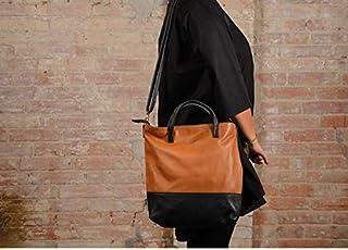Borsa in pelle marrone e nera, borsa grande in pelle, borsa in pelle, borsa fatta a mano, borsa in pelle