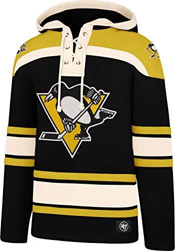 47 Brand NHL Eishockey Hoody Hoodie Kaputzenpullover Sweater Pittsburgh Penguins Lacer Jersey Trikot Hooded (S)