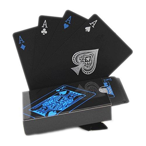 hopefultech Schwarze Spielkarten Wasserdichtes Pokerkarten Profi Poker Playing Cards Karte Spielkarte Playing Cards aus Plastik Top Qualität Plastic Poker für Ihr Poker Vergnügen (Schwarz)