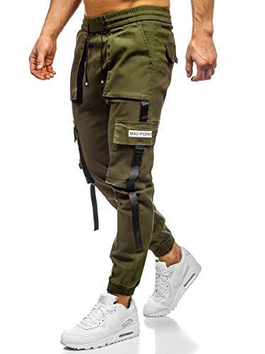 BOLF Herren Cargohose Sporthose Jogger Stoffhose Jogpants Arbeitshose Tactical Camouflage Militär Army Motiv Print Baumwolle Slim Fit KA1911 Khaki XXL [6F6]