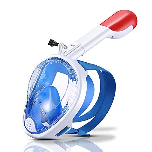 Máscara de Buceo Cara Completa,Máscara de Snorkel Antivaho y Antifugas,Máscara Gafas Buceo 180° Panorámica y Soporte para Camara y Tubo de Respiración Plegable (Blanco)