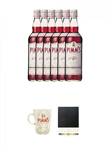 Pimms No.1 Likör englischer Szene Aperitiv 6 x 0,7 Liter + Pimms Cup 1 Stück + Schiefer Glasuntersetzer eckig ca. 9,5 cm Durchmesser