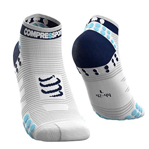 COMPRESSPORT Pro Racing Socks v3.0 Run Low Calcetines para Correr, Unisex-Adult, Blanco/Azul, T3