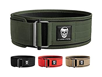 Gymreapers Quick Locking Weightlifting Belt for Bodybuilding Powerlifting Cross Training - 4 Inch Neoprene with Metal Buckle - Adjustable Olympic Lifting Back Support  Ranger Green X-Large