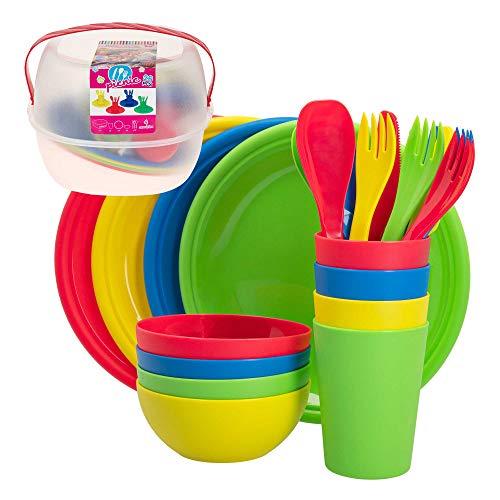 26 piezas camping utensilios verde oliva Set cena Set cubiertos presupuesto vajilla outdoor set