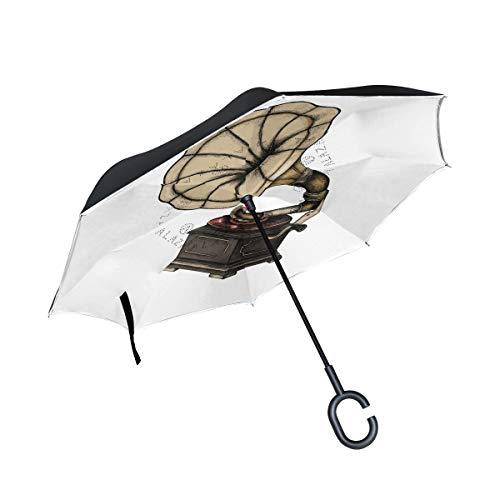 LINDATOP paraguas invertido con fonógrafo clásico dibujado a mano con doble capa de apertura automática, resistente al viento, protección UV, paraguas.