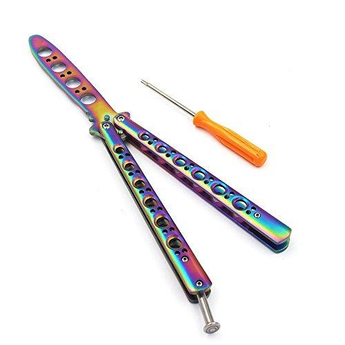 Mariposa cuchillo de entrenamiento, Rainbow Blunt de acero inoxidable Balisong práctica entrenador de navajas de bolsillo herramienta