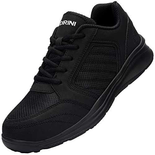 UDIRINI Zapatos de Seguridad Hombre Impermeable Puntera de Acero Zapatos de Seguridad Anti-pinchazos Calzado de Zapatos (Negro Carbón,43.5 EU)