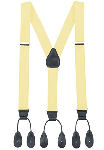 Hold'Em Suspender for Men Y-Back Leather Trimmed Button End Tuxedo Suspenders Many colors and designs