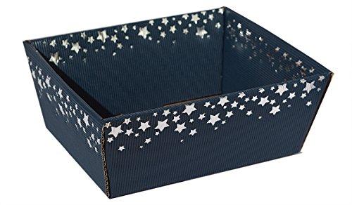 10 Stück Präsentkorb Sternenregen Saphir (blau) klein, Geschenkkorb aus Wellpappe