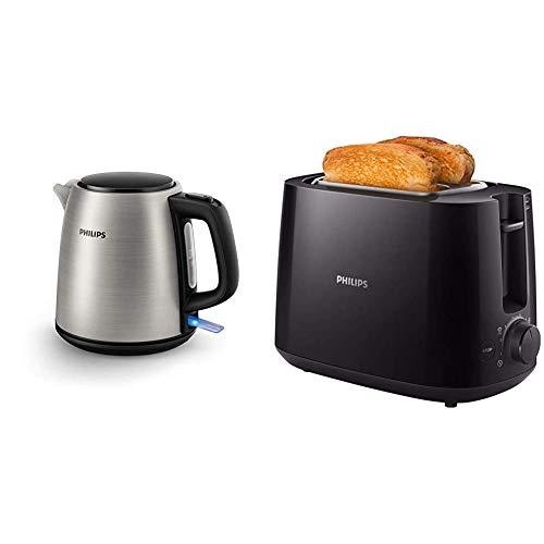 Philips Wasserkocher HD9348/10, Polypropylene (PP), Edelstahl, 1 Liter & HD2581/90 Toaster, integrierter Brötchenaufsatz, 8 Bräunungsstufen, schwarz