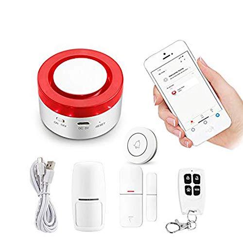 Sistema di allarme intelligente 433 MHz WiFi Gateway Host & Siren App per telefono remota 2 in 1 App compatibile con Amazon Alexa Voice Control Connettiti con Smart Switch e videocamera WiFi