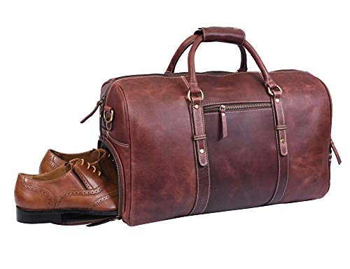 Leather Travel Duffle Bag | Gym Sports Bag Airplane Luggage Carry-On Bag | Gift for Father's Day By Aaron Leather (Chestnut)