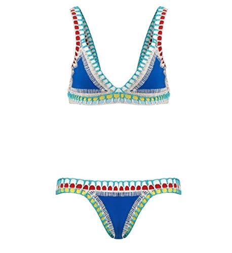 Handmade Women's Crochet Triangle Reversible Sexy Bikini Top and Bottom Sports Swimsuit Set Blue