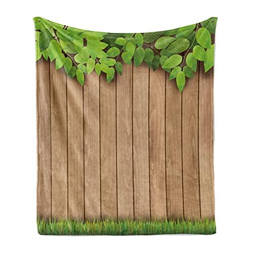 ABAKUHAUS Zaun Weiche Kuscheldecke Sofadecke, Belaubter Baum AST Gras Zaun, Gemütlicher Plüsch für den Innen- und Außenbereich, 175 x 230 cm, Lime Green Camel