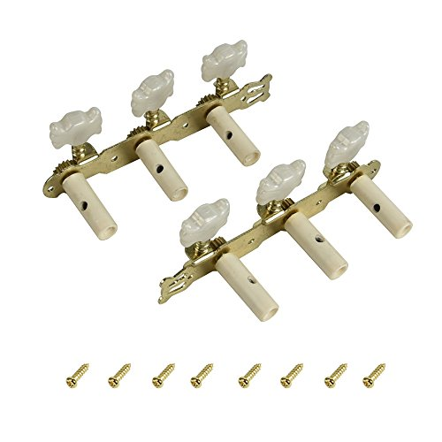 FINO Guitar Machine Head,6 String Tuning Pegs for 3L3R Folk Acoustic Guitar, Right Hand Chrome Tuner Guitar Parts 1 Set (shell)