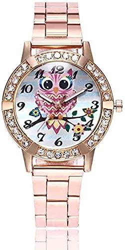 JZDH Mano Reloj Reloj de Pulsera Relojes de Relojes de Relojes Unisex Hombres Mujeres Relojes Deportes Búho Cuarzo Movimiento Relojes Aleación Harajuku Viento Relojes Decorativos Casuales