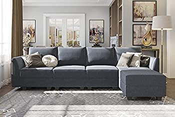 HONBAY Sectional Couch with Reversible Chaise Modern L-Shape Sofa 4-Seat Corner Couch Modular Sofa with Ottoman Bluish Grey