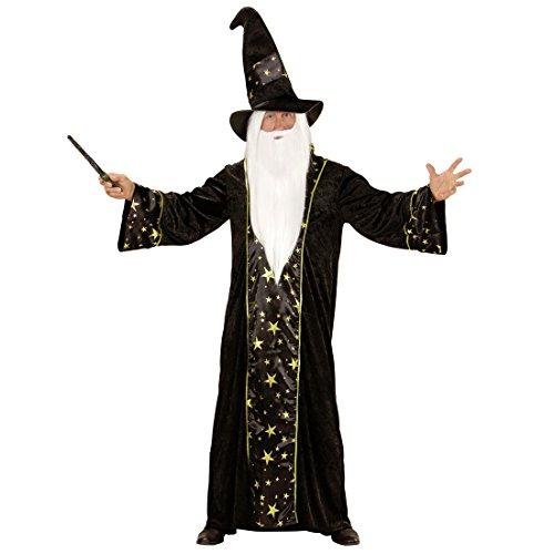Amakando Magier Herrenkostüm - M (50) - Gandalf Verkleidung Merlin Zauberkostüm Hexer Dumbledore Outfit Herren Zauberumhang Hexenmeister Weißer Zauberer Kostüm