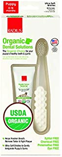 RADIUS USDA Organic Dental Solutions Puppy Kit | Ultra Soft Bristle & Non Toxic Toothpaste & Toothbrush for Dogs | Designe...