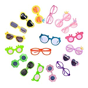PACKING INCLUDING: You will get 10pairs of diferent color/style doll glasses fit 18 inch doll/43cm Baby Born doll. MULTIPLE STYLES: Different colors/styles can meet the different outfits of dolls and cultivate children's imagination. HIGH QUALITY: Al...