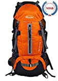 Hiking Backpack 50L with Hydration Compatibility, Daypack with Rain Cover for Outdoor Backpacking Fishing Camping and Travel (Orange)