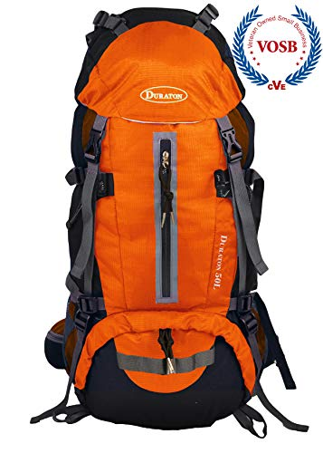 DURATON Hiking Backpack 50L, Water Resistant Light-Weight Day Pack for Backpacking Camping and Travel (Orange)