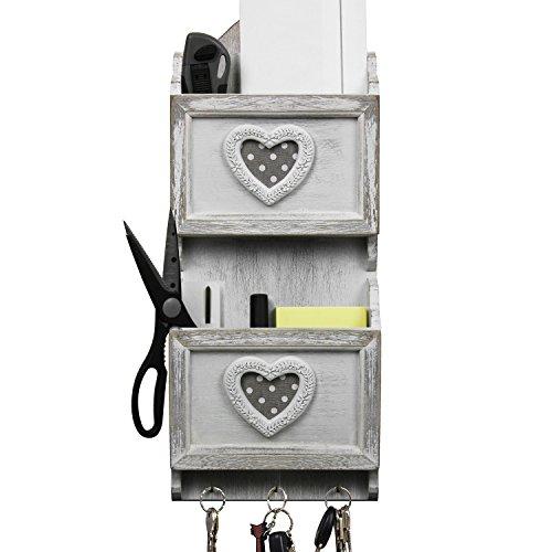 Mensola da parete con 2 scomparti in legno e 3 ganci in metallo, 18 x 6,5 x 43 cm, bianco/grigio, per riporre lettere, chiavi, penne e altro ancora