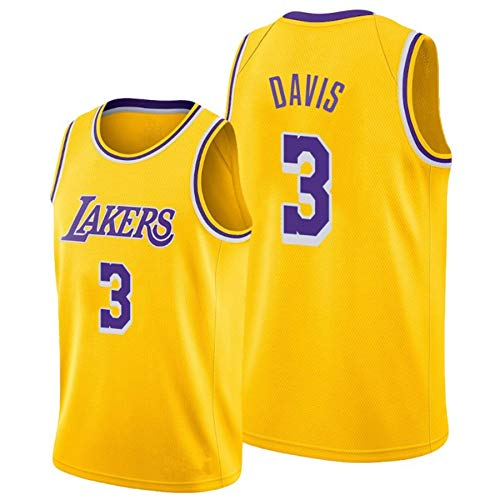 QJJ Anthony Davis Jersey Lakers #3 Away Basketball Jersey City Edition Hombres Swingman Jersey Tenns sin mangas Tops Chalecos amarillo-L
