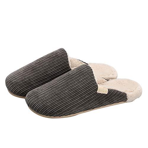Maak kennis met de ergonomische katoenen pantoffels van koord, Blijf warm in de herfst en winter Antislip huishoudelijke pluche pantoffels voor heren en dames met dikke zolen 42-43 Donkergrijs