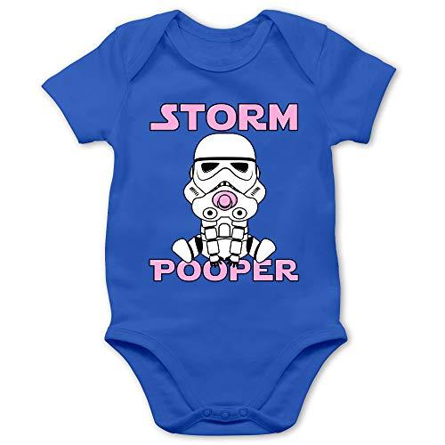 Sprüche Baby - Storm Pooper Mädchen - 12/18 Monate - Royalblau - Baby Strampler 0 Monate - BZ10 - Baby Body Kurzarm für Jungen und Mädchen