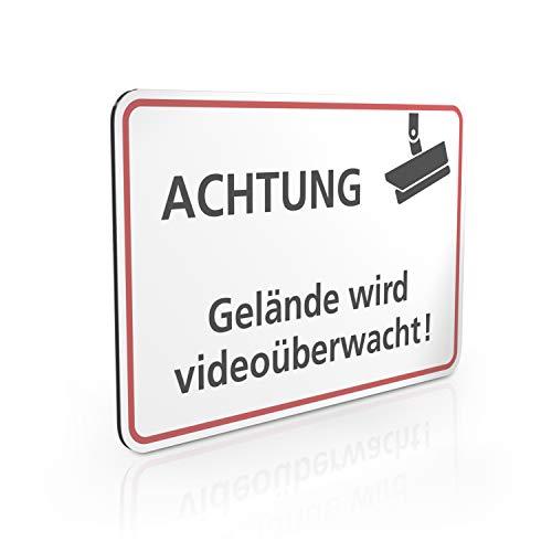 Betriebsausstattung24® Hinweisschild Achtung - Gelände Wird Videoüberwacht   Videoüberwachung Grundstück   Querformat 30,0 x 20,0 cm   2mm Aluminium Verbundplatte