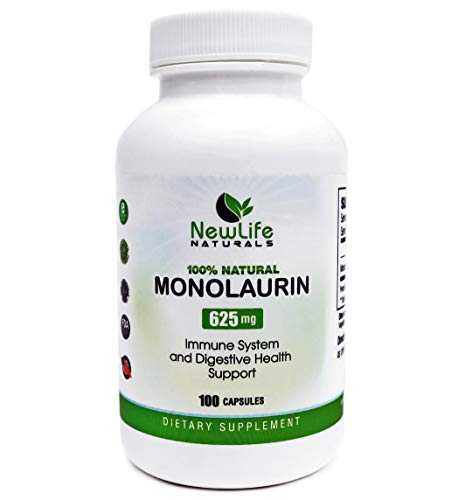 NewLife Naturals Monolaurin Dietary Supplement: 625mg Monolaurin Lauric Acid Sourced from Raw Coconut Oils - Immune System and Digestive Health Support - 100 Vegetarian Capsules
