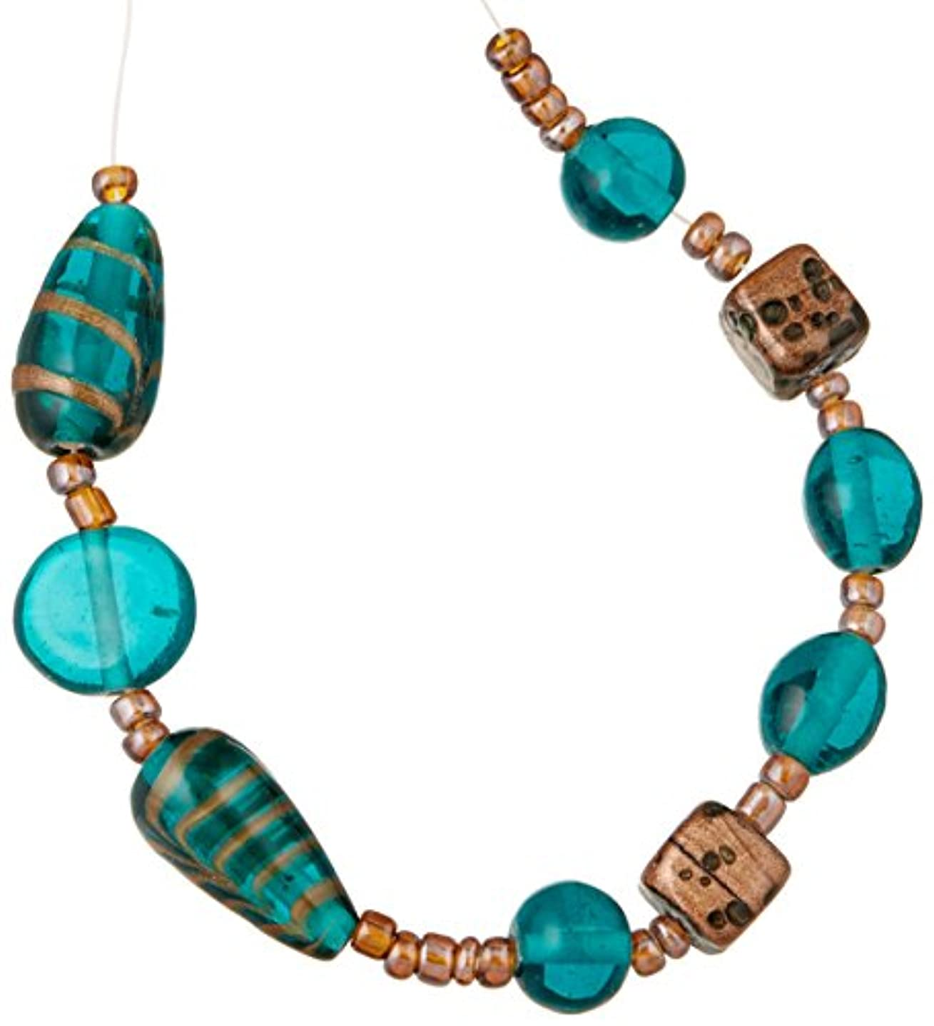 Cousin Jewelry Basics Glass Bead Mix, Teal and Gold Swirl, 9-Pack