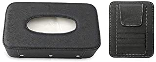 Car Stowing Tidying Multi-function Lichee Texture Car Leather Hang Type Tissue Box And Card Holder, Suitable for Most Cars...