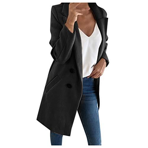 Lialbert Abrigo de mujer de dos filas, abrigo largo de lana, trench de gran tamaño, chaqueta de invierno, abrigo de invierno, elegante botón, parka de doble fila, abrigo cálido Negro S