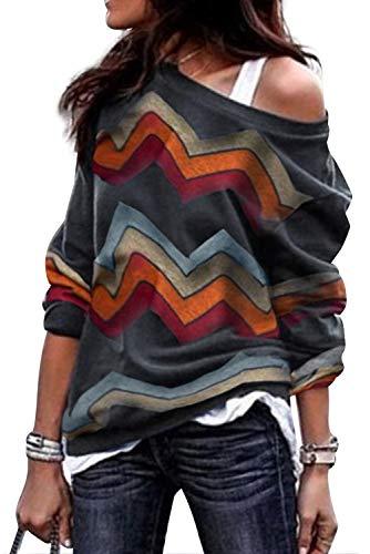 Maglietta Monospalla Donna Elegante Pullover Spalle Scoperte Casual Camicia Geometrica Stampa Maglia Colorblock Tunica a Righe T Shirt Senza Spalline Maglione off Shoulder Moda Camicetta Top Strisce