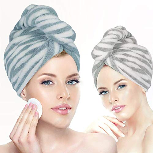 2 Pack Microfiber Hair Towel Wrap for Women, Hair Towel Super Absorbent Hair Drying Towel with Button,Dry Hair Hat Quick Drying Bath Hair Cap(Bluish White&Gray White)