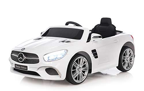 RC Auto kaufen Kinderauto Bild 2: Jamara 460438 Ride-on Mercedes-Benz SL 400 12V – 2 Leistungsstarke Antriebsmotoren und Akku für Lange Fahrzeit, Micro-SD-Slot, AUX-/USB-Anschluss, LED-Scheinwerfer, Ultra-Grip Gummiring, weiß*
