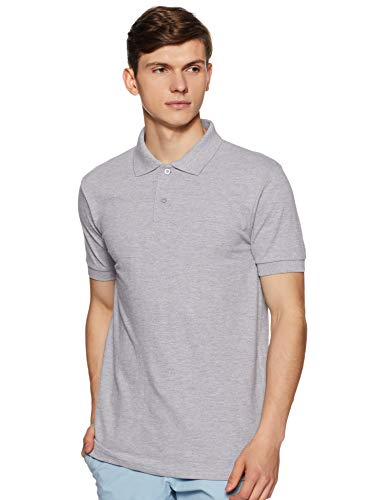 6 Degrees Men's Solid Regular fit Polo (6D-PLN-PN-2- M_ Grey M)