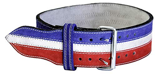 Ader Leather Power Weight Lifting Belt- 4' Red/White/Blue (X Large)