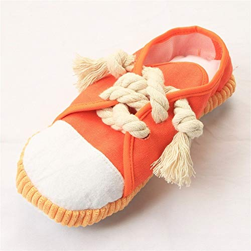 Kalmerende Bed Plush 1Pc Schoenen Chew Pet Toys Schone Tand Touw Kauwen Schoenen Hondenspeelgoed Puppy Bite Dogs Toy Dog Tag (Color : Orange)