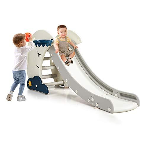 COSTWAY Rutsche Kinder mit Basketballkorb, Rutschbahn klappbar, Kinderrutsche, Gartenrutsche, Wellenrutsche, Kleinkinderrutsche für Indoor und Outdoor
