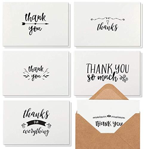 Best Paper Greetings 48 notas de agradecimiento con sobres de papel kraft marrón, juego de tarjetas de agradecimiento, interior en blanco, estilo escrito a mano para baby shower y boda