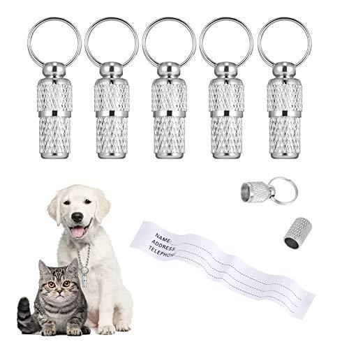 tiopeia 6 Stück Adressanhänger für Hunde Katzen, ID Tag Hundemarke Tiermarke mit Schlüsselringe und Wasserdicht Pillendose für Katzenhalsband Hundehalsband(S)