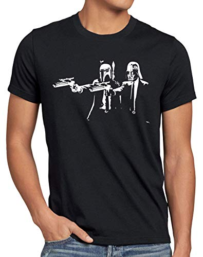 A.N.T. Darth Fiction Herren T-Shirt fett Star Pulp Wars Imperium Boba, Größe:L, Farbe:Schwarz