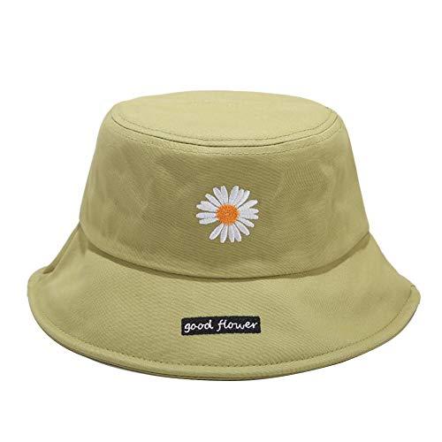 Drawihi Daisy bestickter Fischerhut Streifenmuster Bucket Hat Frauen Sommer Sonnenhut breite Krempe Outdoor Damen faltbar 56–58 cm Grasgrün