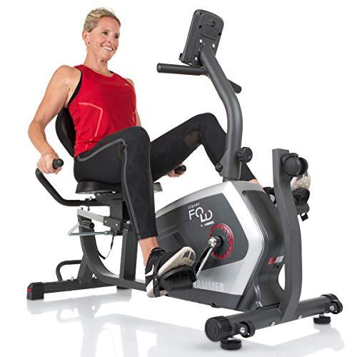 Hammer CleverFold RC5 ligmeter, ruimtebesparende fitnessfiets om in te klappen, ergonomische zitting met rugleuning, handpulssensoren, 19 trainingsprogramma's, 133 x 62 x 95 cm